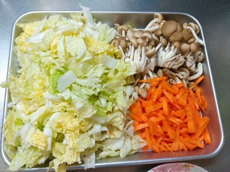 八宝菜の下準備(野菜)